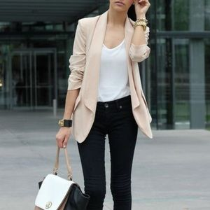 H&M ruched sleeve nude blazer